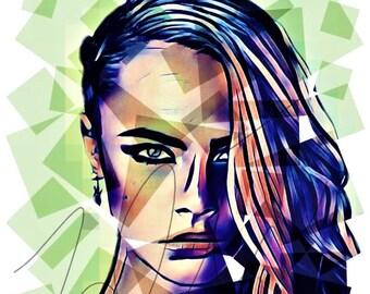Cara Delevingne Pop Art Edit Drawing Vibrant PRINT Wall Art Illustration Model Fan Hand Drawn Photoshop Portrait Poster #CARA_SQAURES1