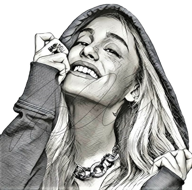 Ariana Grande Drawing Sketch Print Wall Art Illustration Singer Hand Drawn Portrait Charcoal Artwork Monochrome 6 Choices Ariana Sketch