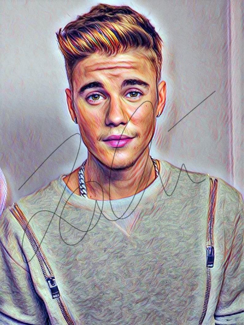 516113d660083 Justin Bieber Coloured Drawing Illustration Wall Art Sketch | Etsy