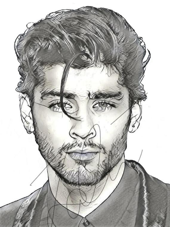 Zayn Malik Drawing Sketch Print Wall Art Illustration 1d Etsy