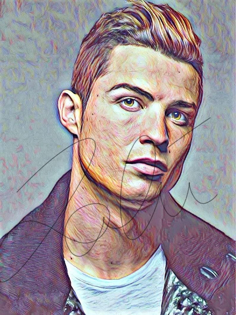 Cristiano Ronaldo Colorato Disegno Stampa Schizzo Ritratto Etsy
