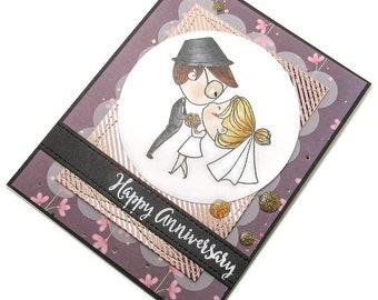 Handmade Card, Happy Anniversary, Greeting Card, Anniversary Card, Bride & Groom Card, Copic Colored, Homemade Card, Die Cut Card