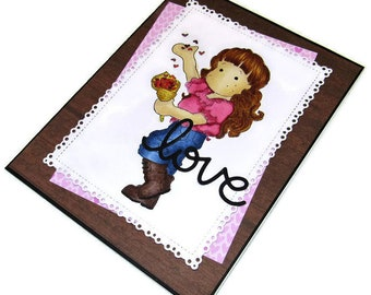 Love - Handmade Card - Die Cut Card - Homemade Card - Handmade Greeting - Papercraft - Homemade Greeting - Hand Crafted Card - Romantic Card