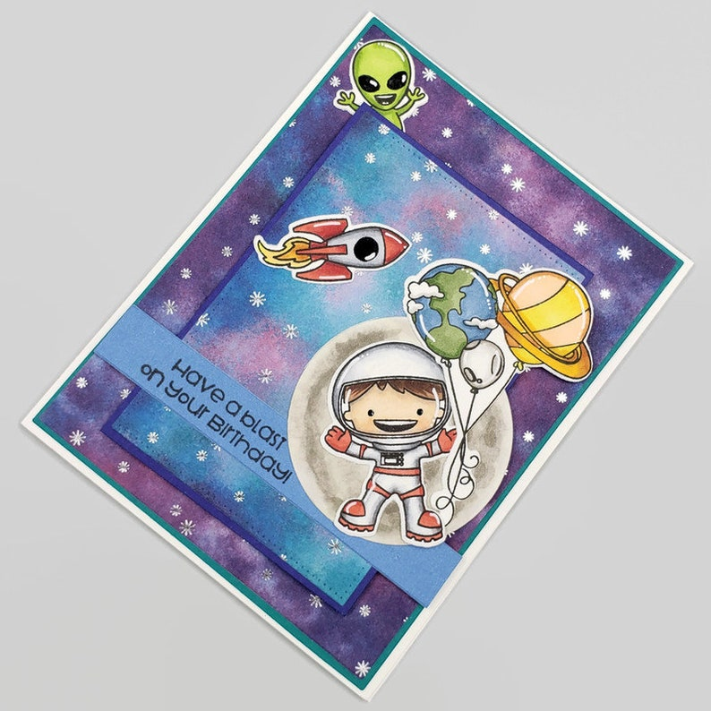 Have A Blast On You Birthday Space Themed Greeting Card  image 0