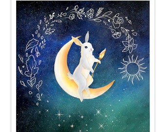 Moon and Stars Rabbit Painting | Adorable and Whimsical Art Print with a Story Card | 8x8