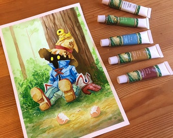 Final Fantasy Vivi & Baby Chocobo Fan Art Print | Adorable Gift for Classic FFIX Fans