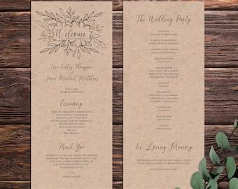 rustic flowers wreath wedding ceremony program template etsy