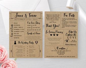 Printable Rustic Wedding Program Template, Editable Order of Ceremony Wedding Program, Instant Download, Rustic Wedding DIY, Infographic