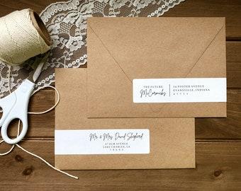 Printable Envelope Address Wrap Labels, Editable Wedding Envelope Address Label Template, Script Font, Rustic Wedding DIY, Instant Download