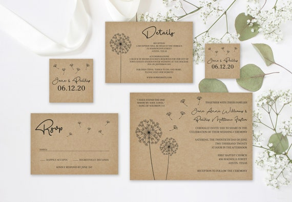 Dandelion Rustic Wedding Invitation Set Template Printable Editable Suite DIY Download