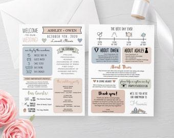 Printable Infographic Wedding Program, Editable Order of Ceremony Program, Funny Wedding Program, Rustic Wedding DIY, Instant Download