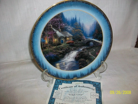 Pleasant Thomas Kinkades Twilight Cottage Collectors Plate By Lenox Home Interior And Landscaping Ologienasavecom