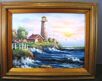 Listing 62 is an original lighthouse painting by C Beralt