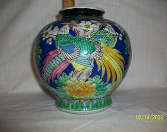 Listing 114 is a vintage Japanese colorful handpainted ceramic vase