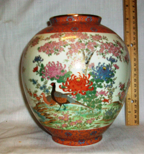Listing 079 Is A Hand Painted Japanese Vase Etsy