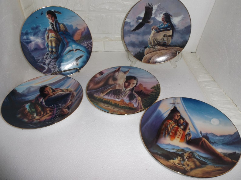 Listing 528 is Five Hamilton Collection Native American Indian collector plates