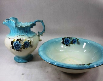 Listing 359 is the vintage blue rose white with gold trim Arnels pitcher and basin set