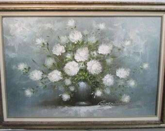 Listing 035 is the Signed Corbero White Floral Still Life Painting