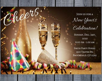new years eve party invitation nye digital invitation new year celebration printable invitation new years party birthday invite