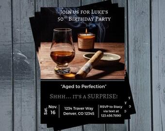 Cigar Birthday Party Invitation Adult Liquor Mens 40th 50th 30th Idea