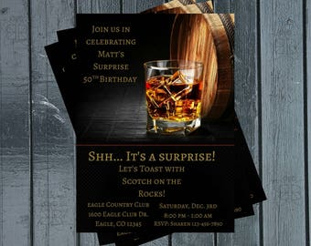 Liquor Birthday Party Invitation Scotch Mens 50th 40th