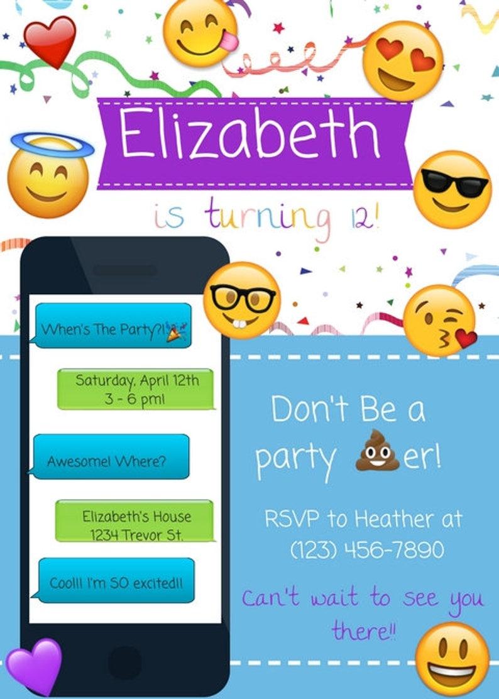 Emoji Birthday Party Invitation Emoticon IPhone