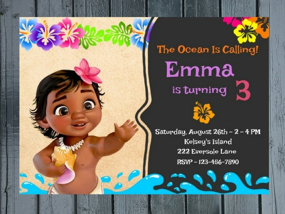 Baby Moana Chalkboard Birthday Party Invitation