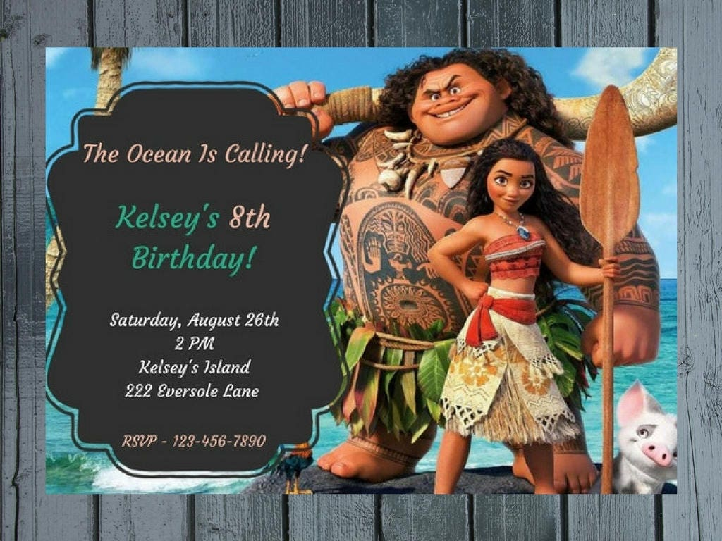 Moana Birthday Invitation Maui And