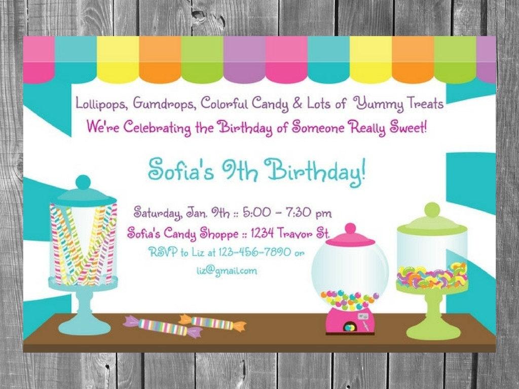 Sweet Shoppe Birthday Party Invitation / Sweet Shoppe / Candy   Etsy