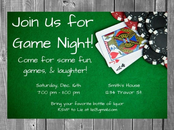 Adult Game Night Party Invitation Casino Night Poker Etsy