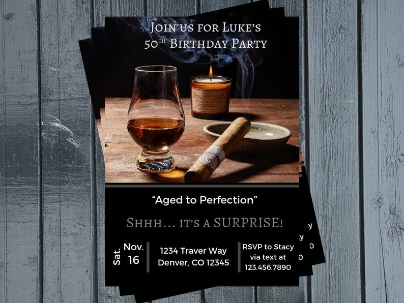 Cigar Birthday Party Invitation Adult Liquor