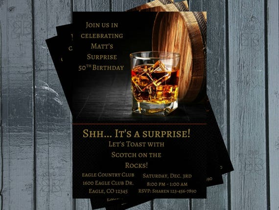 Liquor Birthday Party Invitation Scotch