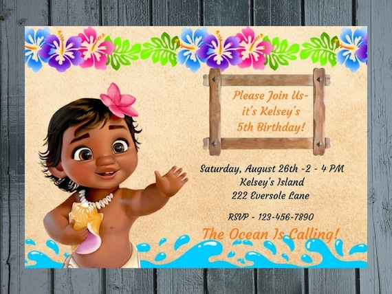 Baby Moana Birthday Party Invitation