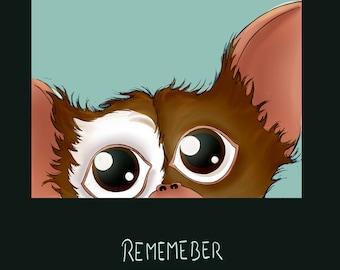 Digital Illustration Print Poster - Gremlins - Gizmo mogwai - Christmas gift