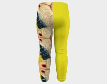 """PURRRFECT ! baby and toddler yellow kitty decorated leggings from PastelArt """"kitty kitty"""" kiddie tights, pants, leggings"""