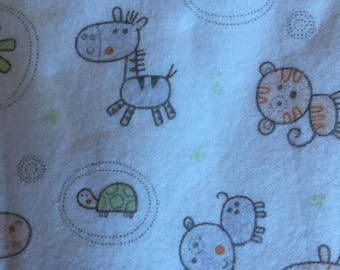 Flannel Baby Blanket with Zoo Animals
