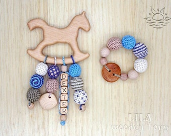 Personalized teether Wooden horse teether Wooden teething toy Teething  bracelet Baby wooden toy Baby boy toy Teething ring Baby keepsake box 267126d101