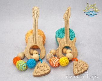 Wooden guitar toy Rock with dad Rock n roll kids Rock n roll mom gift Musical instrument toy Guitar Pregnancy announcement