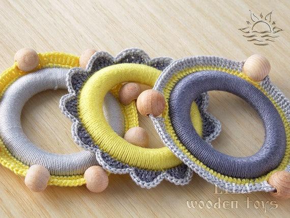 2 Stück Holz häkeln Baby Beißring Holz Kinderkrankheiten Armband Ring