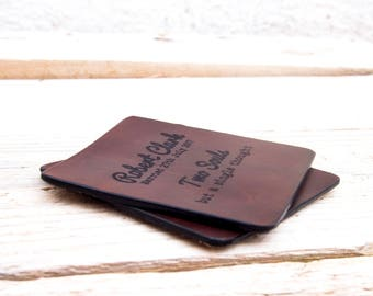 Full grain Leather Coasters Custom engraved, Wedding, Anniversary gift, Christmas, Bridal, gift for him, gift for her