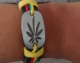 Rasta Hemp Leather Bracelet