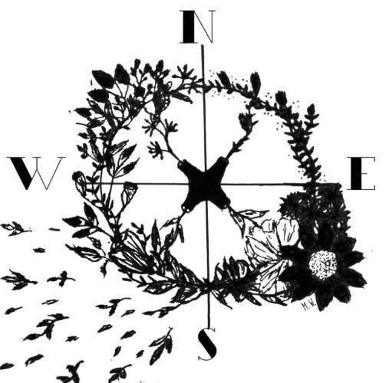 Compass Rose Garden // PNG file // Download // Transparent // compass //  explore // wanderlust // travel // graphic // design // floral