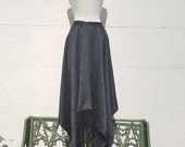 Vintage black silk handkerchief skirt uk size 10