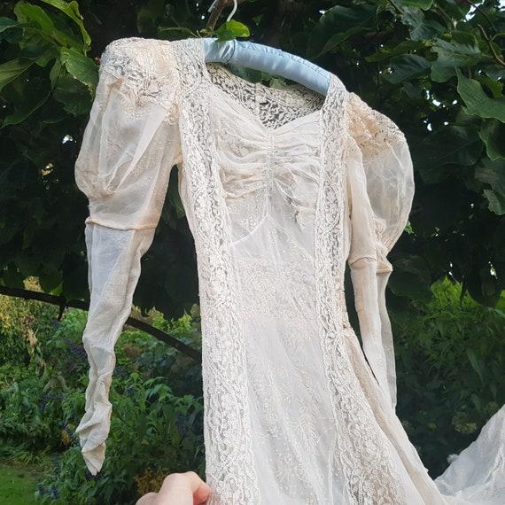 30s lace wedding dress with train As Found