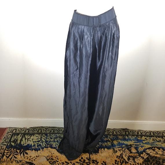 Black vintage satin palazzo pants