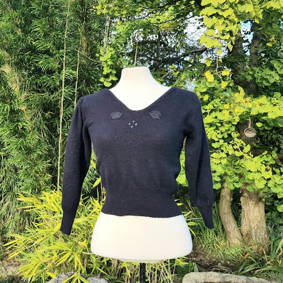 Vintage black jumper cashmere & angora