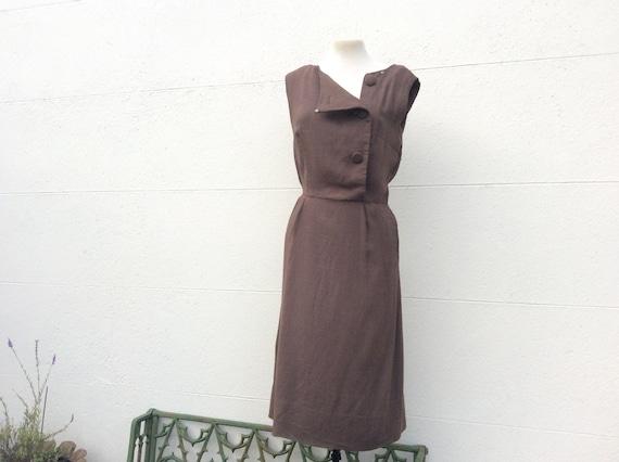 Vintage 50s brown sun dress asymmetric design