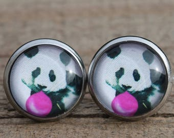 Panda earrings studs animal in stainless with glass cabochon black and white panda chewing gum