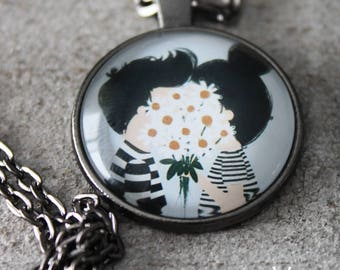 Necklace with lovers kissing behind daisy flowers valentine's gift glass cabochon pendent