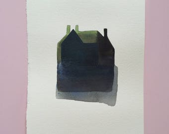 Original painting, acrylic on paper, original art, green, house